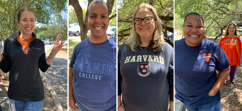 Four images of Dana Center staff members wearing their collegiate colors. In this image are represented the University of Texas at Austin, Spelman College, Harvard University, the University of Virginia, and the University of Texas at Dallas.