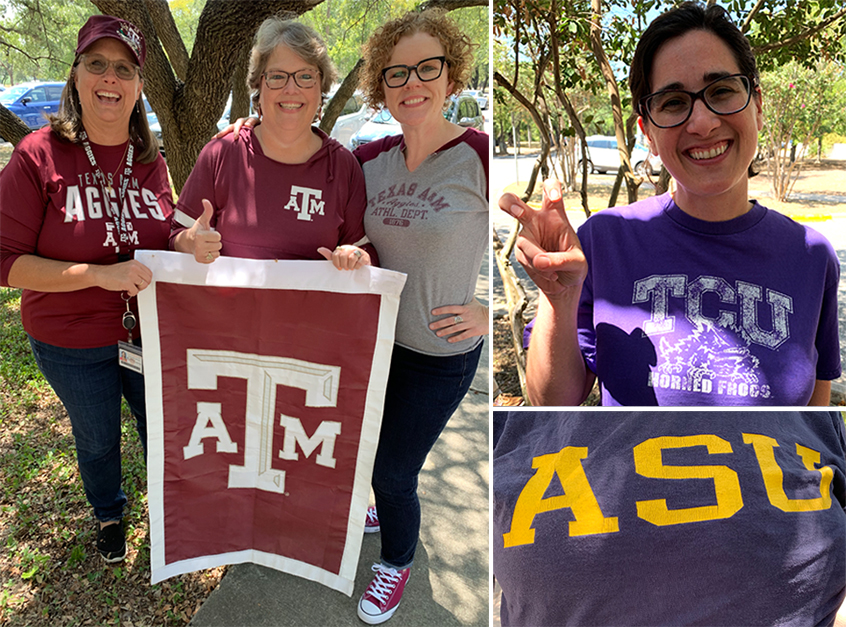 Three images of Dana Center staff wearing shirts and displaying other paraphernalia and hand signs from their respective alma maters.