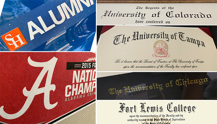 Images of collegiate-branded paraphernalia and diplomas from a range of institutions.
