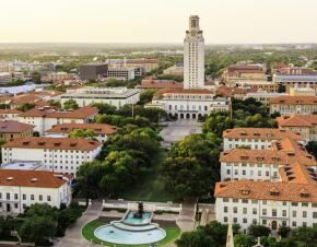 aerial view of The University of Texas at Austin campus
